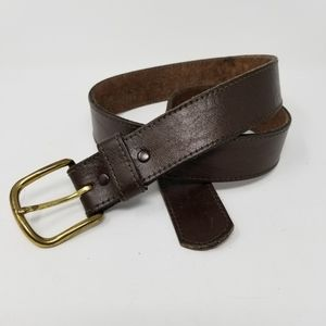 Accessories - Brown Leather Belt 34 Natural Full Grain Cowhide